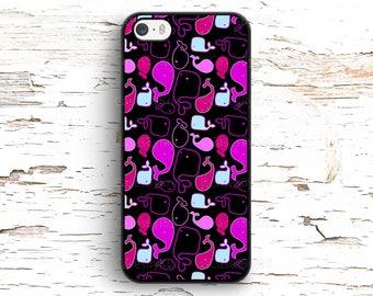 Purple Neon Whales Pattern Case iPhone 7 6S 6 SE 5S 5 5C 4S, Samsung Galaxy S6 Edge S5 S4 S3, LG G4 G3, Sony Xperia Z5 Z3, HTC One M8