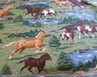 horse fabric 2 yds of great running horses