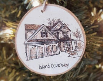 first home ornament, custom home ornaments, wood burned home ornament, house warming gift, custom ornament
