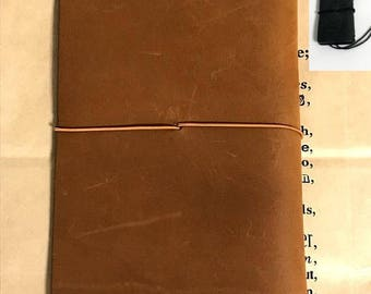 Used Traveler's Notebook Leather Cover Regular size Camel and  10th mini size Traveler's Notebook Black and Kraft Paper Folder set Sale