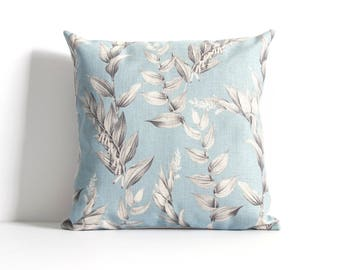 Blue Leaf Pillow Cover,  Decorative Pillow Cover, Cushion Cover