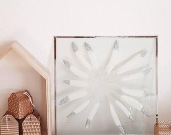 Frame Herbarium - silver feathers