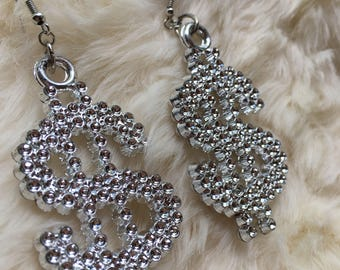 Chunky Dollar Sign Earrings// Rave Costume