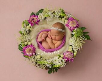 Newborn Photo Digital Backdrop Download. Girls floral basket