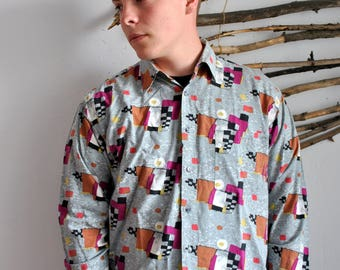 Abstract figures print mens shirt 1990s 1980s vintage longsleeve