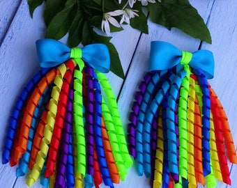 Korker Bow Korker Hair Bow Rainbow Korker Clip Girls Bow Summer Hair Bow Rainbow Hair Bows Birthday Bow Colorful Bow Streamer Bow Baby Bow