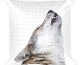 Square Pillow, Wolf Pillow, Animal Pillow, Woodland Decor, Wolf Throw Pillow, Wolf Decor,Woodland Animal, Wolf, Throw Pillow, Bedroom  Decor