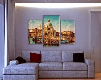 Art Print on Canvas, Large Wall Art , River, Canoe, 3 Panel Canvas,Canvas Art, Interior Art, Living Room Decor, Extra Large Art