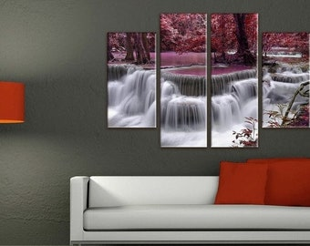 Waterfall Wall Art, Large Canvas art, Interior Art, Room Decoration, Extra Large Wall decor 5 Panel Canvas, Photo Print on Canvas