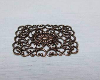 Rectangular print 42 x 29 mm copper antiqued