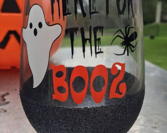 Here for the BOOZ 21oz stemless wine glass // Halloween Glass