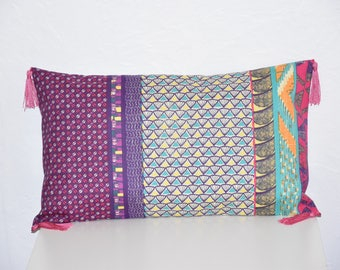 Pillow cover / tassels - 50 x 30 cm - ethnic - colored tones