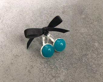 Turquoise in Silver Plated French Lever Drop Resin Earrings, Cabachon Earrings, Resin Jewelry, Christmas