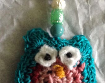 Crocheted owl keychains