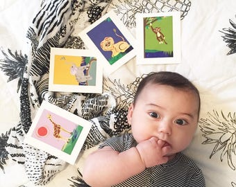 3+1! Set of four cute Safari Nursery Wall Art, perfect gift for baby boy or girl, Purple Giraffe, Blue Lion, Green Monkey, Yellow Elephant