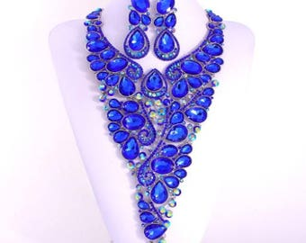 Couture Crystal Blue Necklace Set