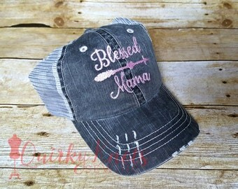 Blessed mama hat-mom hat-mom life-embroidered hat-custom hat-logo hat-mama bear -mom gift