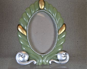 3 1/2 x 5 Art Deco style Photo Frame Green and Silver