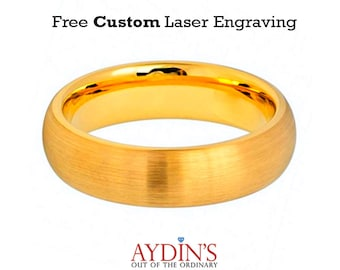 Tungsten Wedding Band Gold Brushed Domed Classic Style 6mm