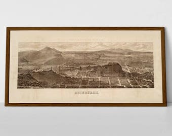 Edinburgh 1868 rare old print, views to Pentland Hills, Meadows, and Leith Walk | Fine Art Giclée Print of Engraving Huge Scottish Gift Art
