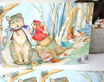 Little Red Riding hood art fairy tale art watercolor art birthday or everyday greeting cards