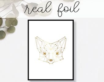 Abstract Fox Print Real Gold Foil Minimal Gold Foil Art