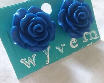 Cobalt Blue ~ Rose ~ Stud Earrings