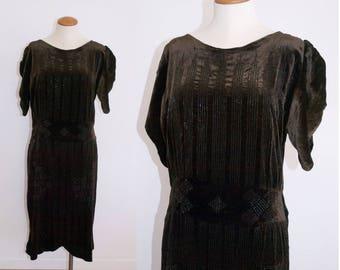 1920s Art Deco Velvet Beaded Flapper Dress // Chocolate Brown // Medium