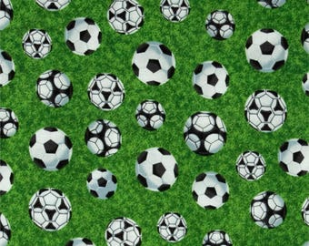 Soccer Fabric, Sports Fabric: NEW Fabri-quilt Sports SOCCER Toss on Grass Green Primium 100% cotton fabric by the yard - FQ59