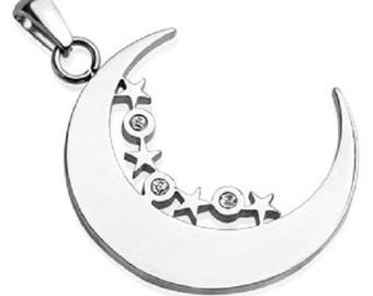 Moon with Stars and CZs Stainless Steel Pendant