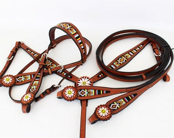 Western Horse Wickett & Craig Rawhide Silver Turquoise Leather Trail Show Bridle Headstall Breast Collar Split Reins Tack Set FQH