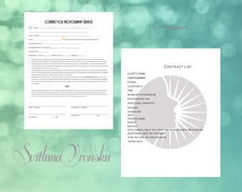 PHOTOGRAPHY CONTRACT model release for photographers photography template, instant download