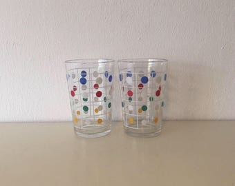 2 glasses Polka Dot sixties retro vintage glass space age