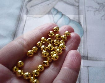 Metal Beads, 6mm Gold Plated Spacer Beads, Gold Beads, 6mm Metal Pearls, Round Pearls, Beading Supplies