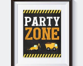 Construction Birthday Party Zone Sign, Signage, Dump Truck, Construction Party Decorations, Construction Birthday Decor, 088
