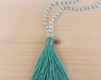Bohemian Style Beaded Tassel Necklace Aquamarine