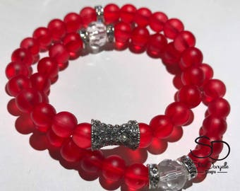 8mm Red Frosted Glass Beaded Bracelet Set with Silver accents