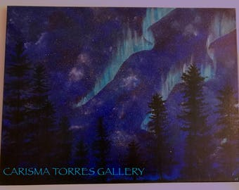 Northern lights, Aurora Borealis, Night Sky, Stars, Trees, Acrylic painting, Original art, 18x12 inches