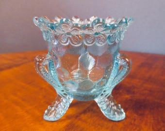 Blue glass toothpick holder by Degenhart
