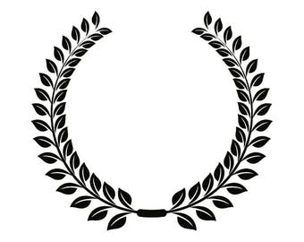 Wreath #13 Olive Branch Leaves Logo Design Element Emblem Label Sticker Badge Shield Wheat .SVG .EPS .PNG Clipart Vector Cricut Cut Cutting