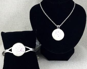 White Druzy Jewelry Set - Druzy - Druzy Necklace - Druzy Bracelet - Drusy - Druzy Pendant - Necklace - Jewelry - Bridesmaid Gift - White -