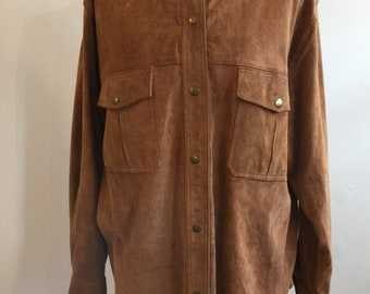 1980s Brown Suede Leather Shirt Jacket