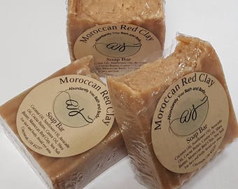 Moroccan Red Clay Soap Bar | Vegan Soap | Palm Oil Free | 5 ounce | Natural Soap