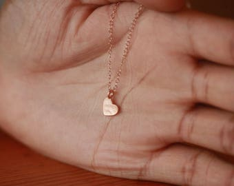 Small Heart Necklace, Sideways Heart Necklace, Rose Gold Necklace, Heart Charm, Bridesmaid Gifts, Rose Gold Chain Necklace, Love Necklace