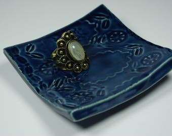 Handmade Small Blue Textured Square Plate