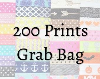 Hair Ties ~ 200 Pack GRAB BAG PRINTS Handmade Trendy Ponytail Holders Knotted Stretchy Elastic Yoga Hair Bands