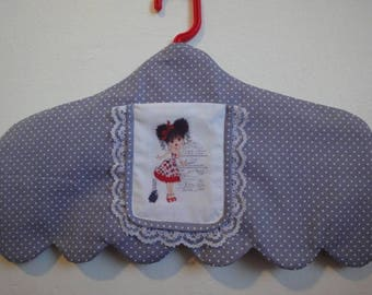grey polka dot hanger blancx with transfer and lace wrap cover