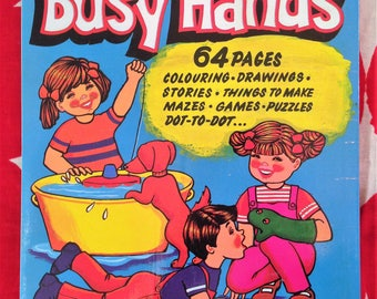 Busy Hands, Vintage Coloring and Activity Book