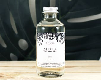 Facial Toner: ALOE + WITCH HAZEL - alcohol free aloe toner, sensitive skin, witch hazel natural toner, gentle natural skin care