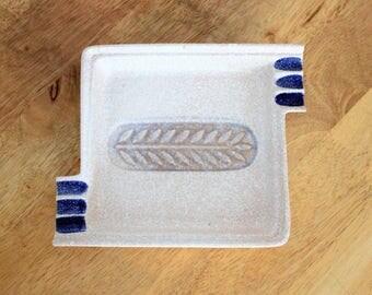 Vintage ceramic ashtray, unique cream and blue ash tray, vintage tobacciana pottery